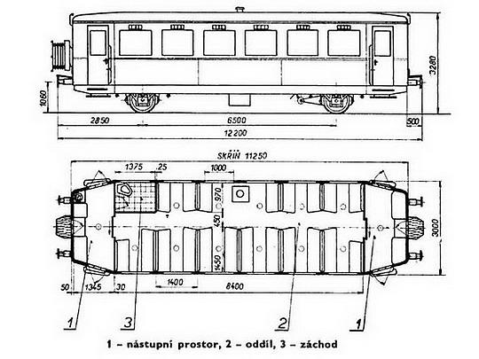 Nákres přípojného vozu Clm z let 1936 - 1950 © S.Jindra - M.Frolík