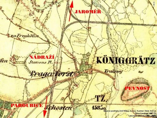 Královéhradecké nádraží na historické mapě z let 1836 - 1852 © Seznam.cz