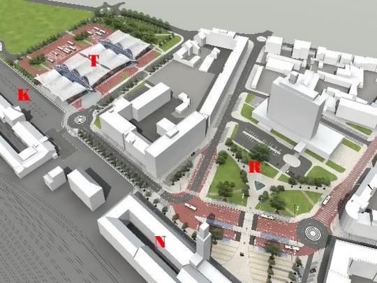 Vizualizace, celkový pohled: T - terminál BUS HD, R - Riegrovo náměstí, N - nádražní budova, K - komerční obvod ČD © Ing. arch. Patrik Kotas