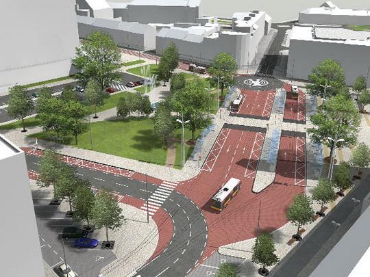 Vizualizace, Riegrovo náměstí: nadhled od Sladkovského ulice, vpravo vzadu křižovatka Koruna © Ing. arch. Patrik Kotas