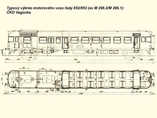 Typový výkres motorového vozu řady 852/853 © ČKD Vagonka