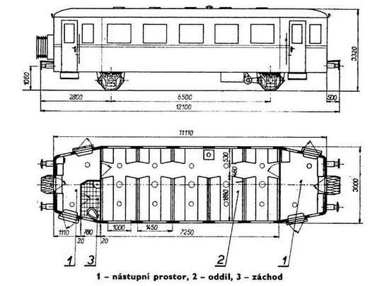 Nákres přípojného vozu Clm z let 1953 - 1954 © S.Jindra - M.Frolík