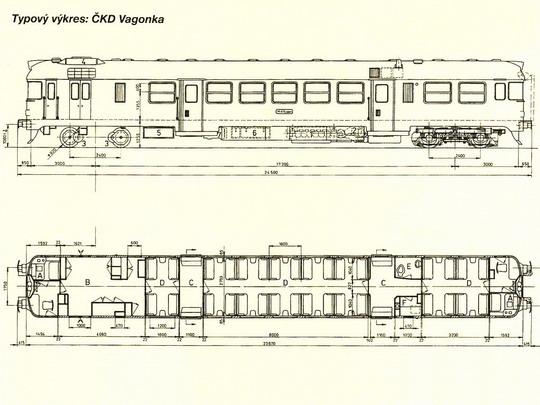 Typový výkres motorového vozu řady 860 (ex M 475.0 ex M 474.0) odpovídající skříni vozu 001 © ČKD Vagonka