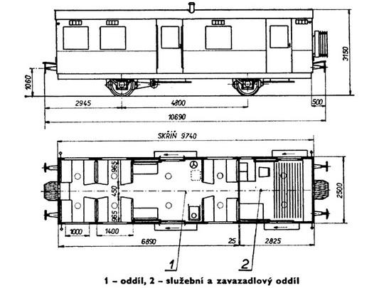 Starší typ - nákres vozu řady CDlm z let 1934 - 1935 © S.Jindra - M.Frolík