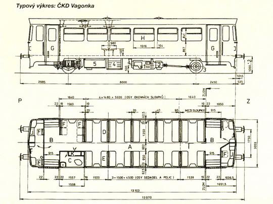 Typový výkres motorového vozu řady 810 (ex M 152.0) © ČKD Vagonka