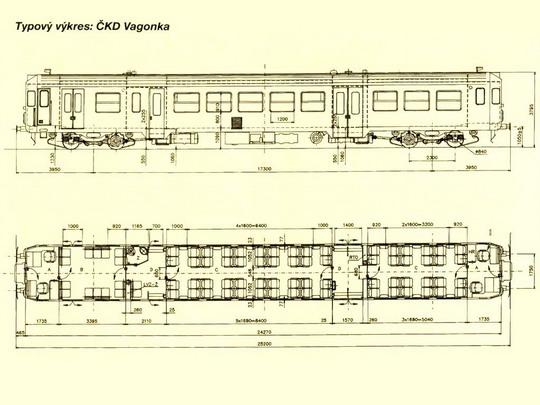 Typový výkres sériového motorového vozu řady 842 © ČKD Vagonka