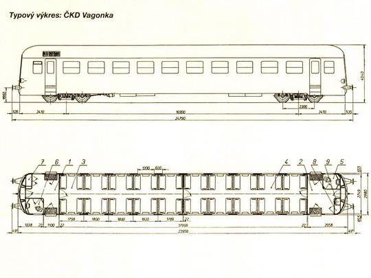 Typový výkres přípojného vozu řady 050 (ex Balm) © ČKD Vagonka © PhDr. Zbyněk Zlinský