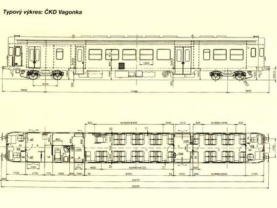 Typový výkres motorového vozu řady 843 © ČKD Vagonka