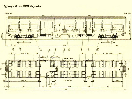 Typový výkres přípojného vozu řady 043 © ČKD Vagonka