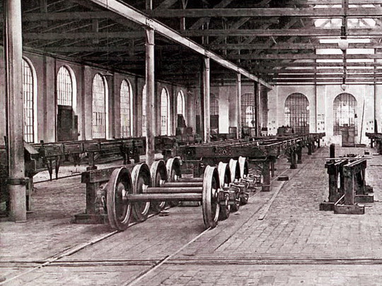 Montovna spodků vagonů (kolem roku 1905) - archiv ČKD Vagonka