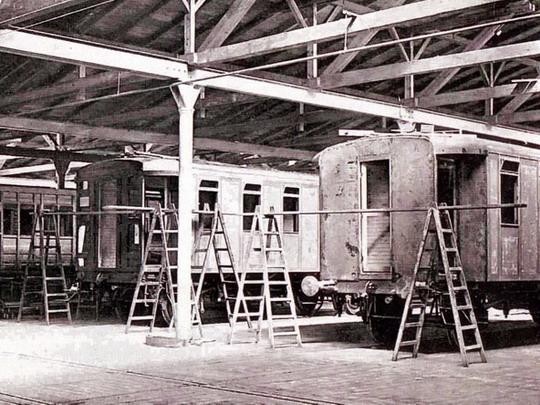 Velká montovna truhlářů (po roce 1905) - archiv ČKD Vagonka