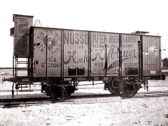 První vyrobený speciální vagon - dvounápravový chladicí vůz řady Gb na dopravu piva kkStB (1901) - archiv ČKD Vagonka