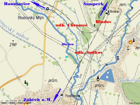 Bludovský triangl na turistické mapě - zdroj: Mapy.cz; zobraz v novém okně!