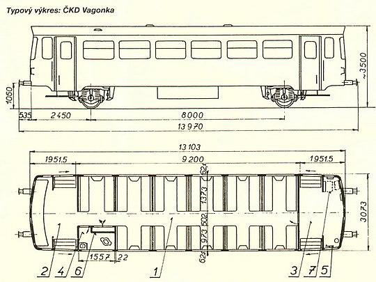Typový výkres přípojného vozu řady 010 © ČKD Vagonka - Zobraz celý v novém okně!