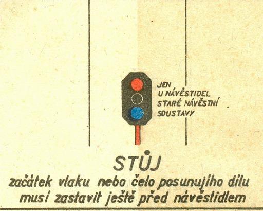 """Návesť """"Stoj"""" pre vložené návestidlá... © Lit. [6] rok 1956"""