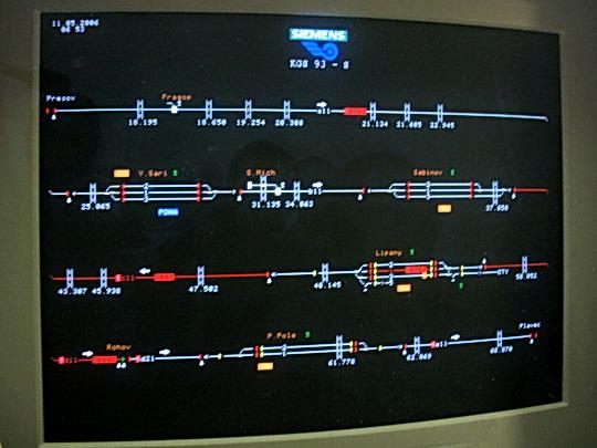 Prešov - Monitor dispečera, 10.5.2006, © Tomáš Rotbauer