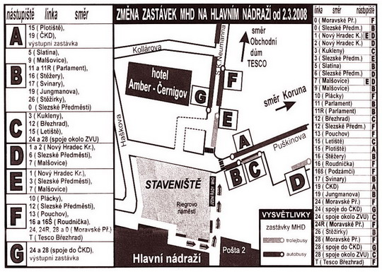 Terminál hromadné dopravy - dočasná stanoviště před hlavním nádražím od 2.3.2008; zdroj: Radnice 8/2008 - ZOBRAZ!