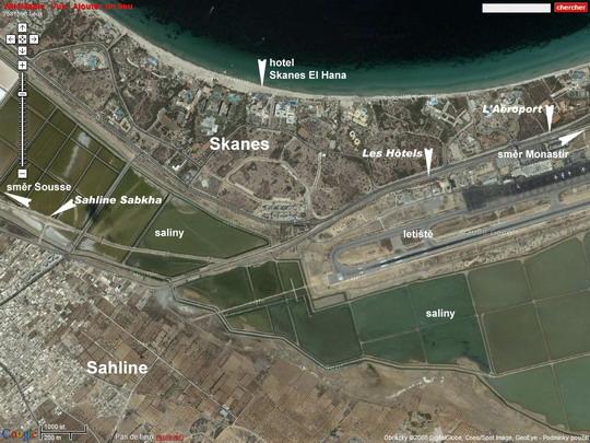 Oblast Skanes se zastávkami trati Métro du Sahel na fotomapě Google - ZOBRAZ!