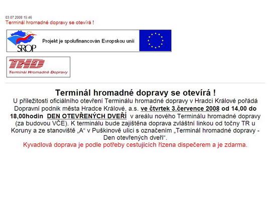 Pozvánka na stránkách DPMHK, a.s. - ZOBRAZ!
