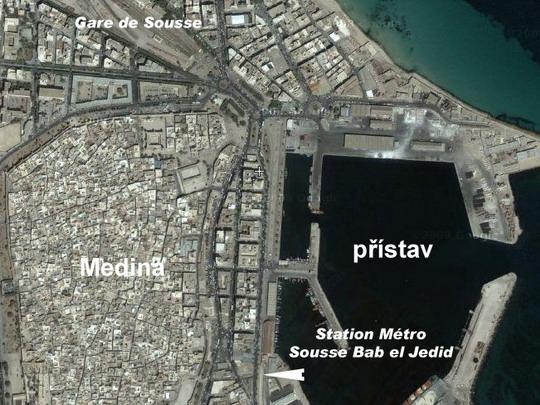 Sousse s nádražím  Grandes Lignes a stanicí Métro du Sahel na fotomapě Google - ZOBRAZ!