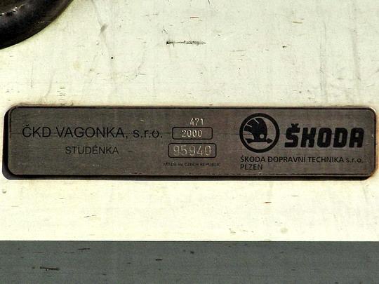 19.05.2007 - Praha Masarykovo n.: výrobní štítek vozu 471.004-2 © PhDr. Zbyněk Zlinský