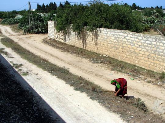 08.06.2008 - Baghdadi: pruh pro druhou kolej a žena bůhvíco kopající u trati (foto z vlaku 536) © PhDr. Zbyněk Zlinský