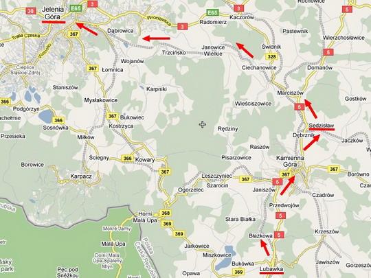 Trať Lubawka -Jelenia Góra na mapě Google - ZOBRAZ!
