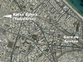 Tratě vycházející ze Sousse na fotomapě Google - ZOBRAZ!