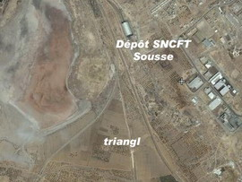 Triangl, depo a stanice Sousse Sud na fotomapě Google - ZOBRAZ!