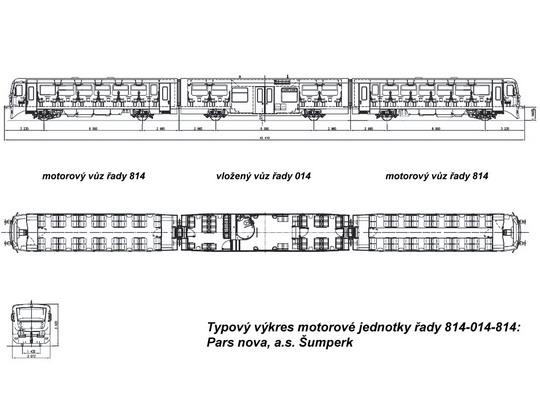 Typový výkres motorové jednotky řady 814-014-814 © Pars nova, a.s. - ZOBRAZ!