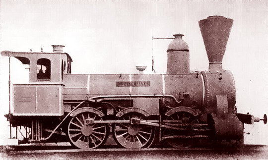 "Lokomotiva ATE IIIa 20 ""Rothenhaus"" (322.304 ČSD) na továrním snímku z roku 1870 (zdroj Wikipedia)"