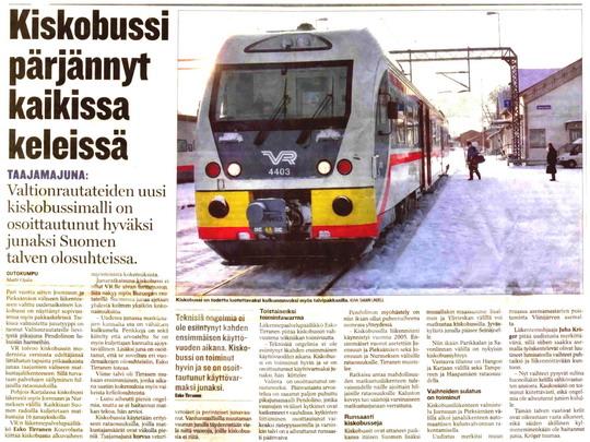 """Pochvalný článek ve finských novinách (překlad v odkazech: """"Motorový vůz obstál za každého počasí """") - ZOBRAZ!"""