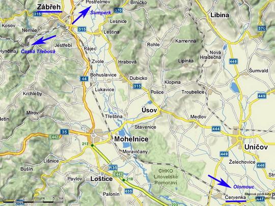 Úsek Zábřeh n.M. - Červenka na mapě © Mapy.cz - ZOBRAZ!