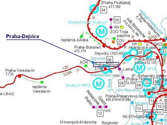 """Žst. Praha-Dejvice a okolní tratě, zdroj """"Atlas drah České republiky 2006-2007"""" - ZOBRAZ!"""