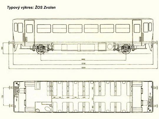 Typový výkres motorového vozu řady 811 ZSSK © ŽOS Zvolen - ZOBRAZ!