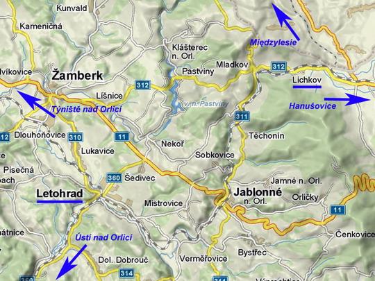Tratě v okolí Letohradu © Mapy.cz - ZOBRAZ!