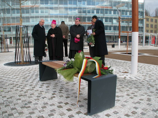17.11.2008 - Hradec Králové: rekonstrukce Riegrova náměstí - účastníci vzpomínkového aktu , vpravo europoslanec Vlasák © PhDr. Zbyněk Zlinský
