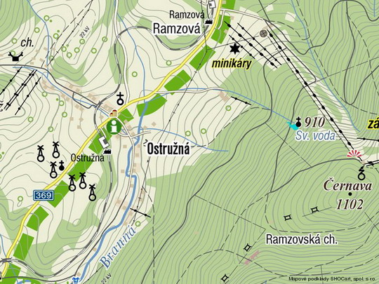 Ostružná na turistické mapě © Mapy.cz - ZOBRAZ!