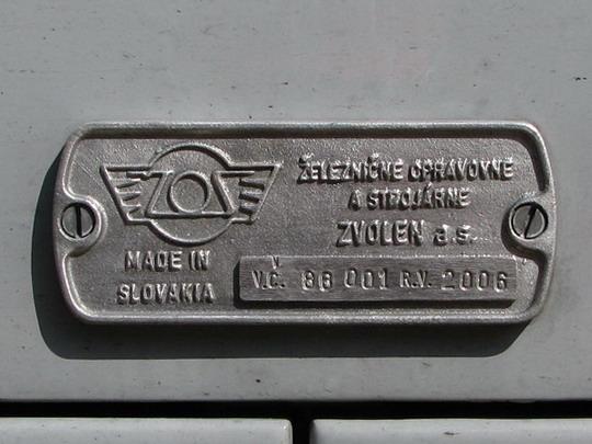 03.05.2008 - Plešivec: 813.001-5+913.001-4 - výrobní štítek řídicího vozu  © PhDr. Zbyněk Zlinský