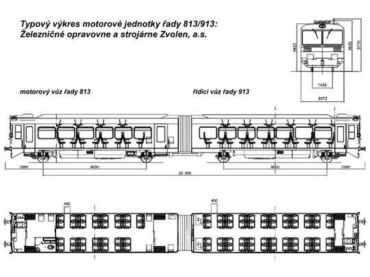 Typový výkres motorové jednotky řady 813/913 © ŽOS Zvolen, a.s. - ZOBRAZ!