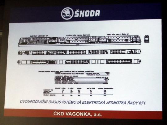 27.11.2007 - ČKD VAGONKA, a.s. Ostrava: náčrt a data už dříve plánované dvousystémové jednotky řady 671 na plátně © PhDr. Zbyněk Zlinský - ZOBRAZ!