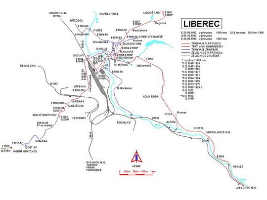 Vývoj liberecké tramvajové sítě do r. 1990, zdroj: www.spvd.cz - ZOBRAZ!