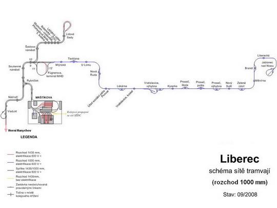Schéma tramvajové sítě, rozchod 1000 mm, zdroj: www.doprava.unas.cz - ZOBRAZ!