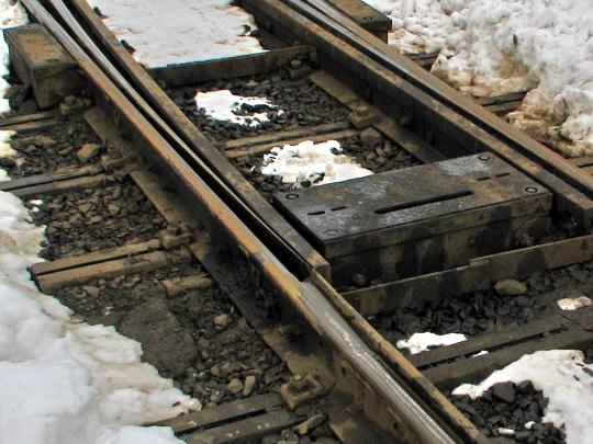 Univerzální pražce připravené pro změnu rozchodu (25.02.2009 - Proseč n.N.) © PhDr. Zbyněk Zlinský