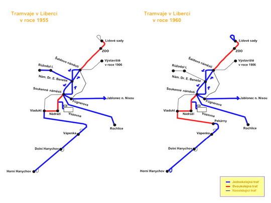 Schéma městské tramvajové sítě v letech 1955 a 1960, podle Czech Trams - ZOBRAZ!