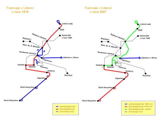 Schéma městské tramvajové sítě v letech 1976 a 2007, podle Czech Trams - ZOBRAZ!