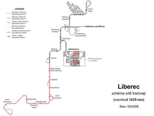 Schéma tramvajové sítě, rozchod 1435 mm, zdroj: www.doprava.unas.cz - ZOBRAZ!