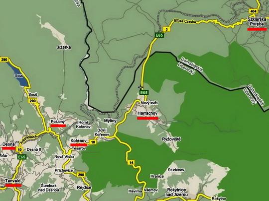 Traťový úsek Tanvald - Szklarska Poręba na mapě © Wikimapia