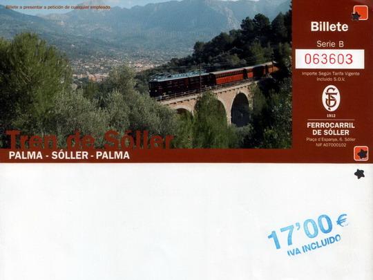 Zpáteční jízdenka Palma - Sóller s částí rubové strany - ZOBRAZ!