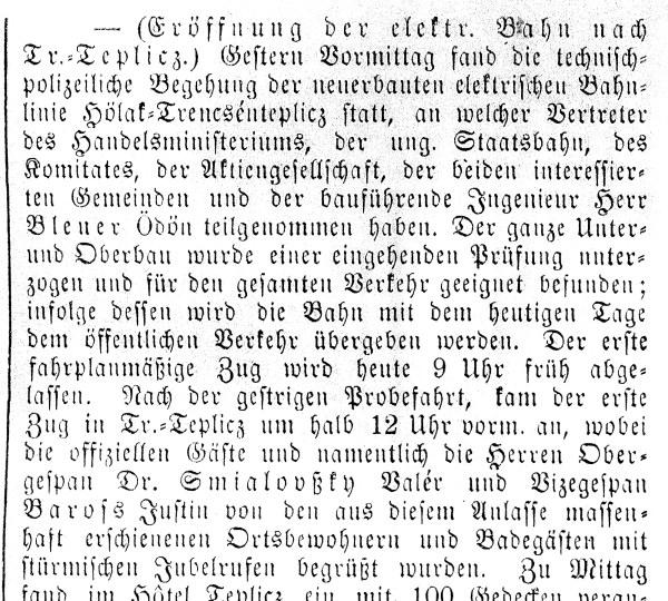 Obrázek 5 - začátek novinové zprávy o zahájení provozu železnice, publikované v trenčínských novinách Vágvölgyi Lap dne 27.6.1909.